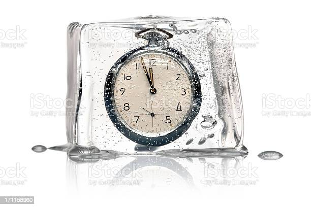 Photo of Frozen Time Concept - Clock Ice Cube retro