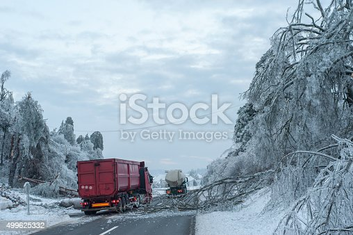 482803237 istock photo frozen tree on road and truck passing 499625332