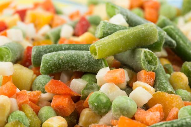 냉동상태의 야채면 배경기술 - 냉동식품 뉴스 사진 이미지