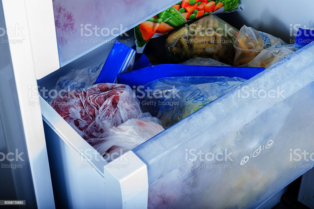 Frozen vegetables in freezer stock photo