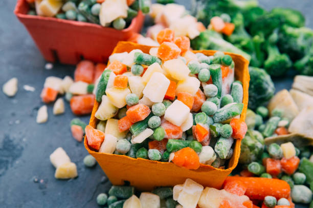 frozen vegetables mexican mix - frozen stock pictures, royalty-free photos & images