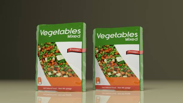 pacotes de legumes congelados. ilustração 3d - comida congelada - fotografias e filmes do acervo