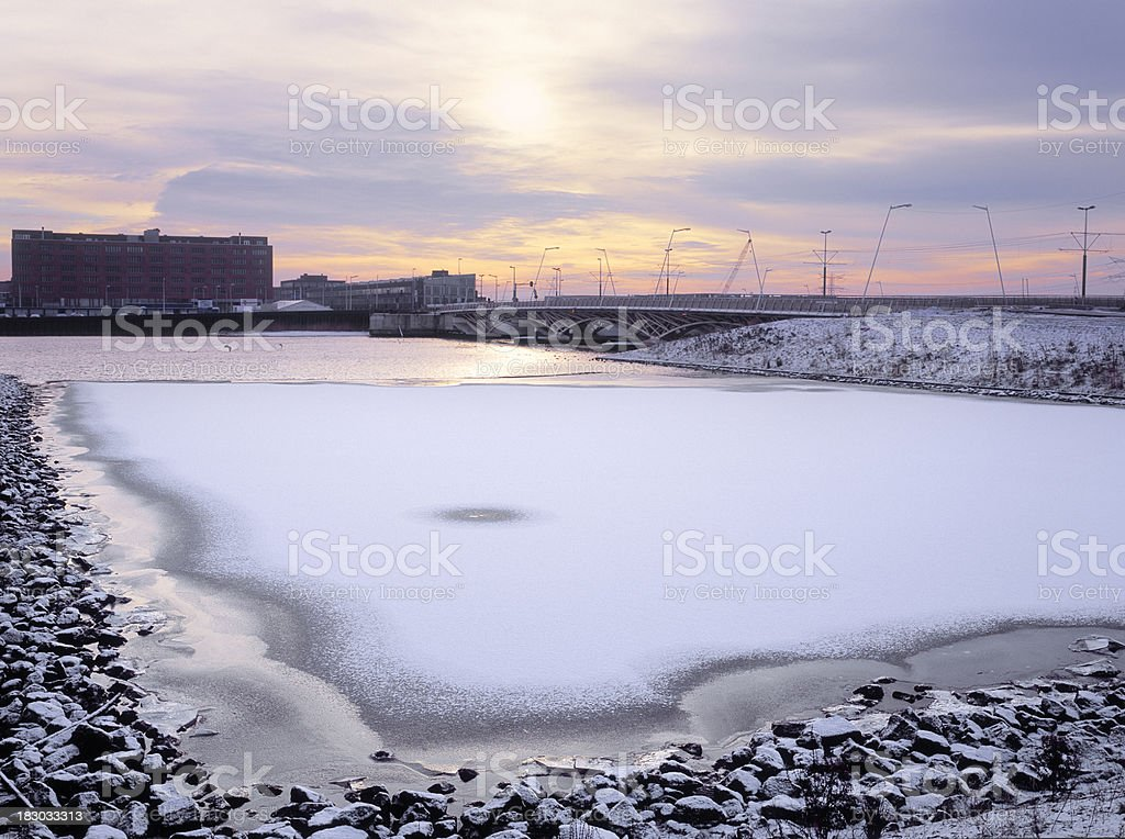 Frozen water at new development area in Amsterdam. stock photo