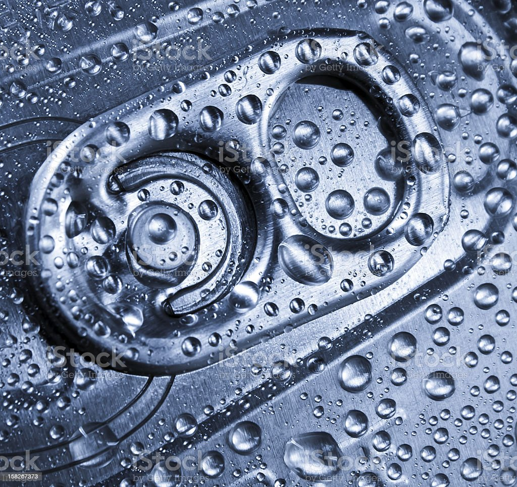 Frozen water droplets in a metal tin. royalty-free stock photo