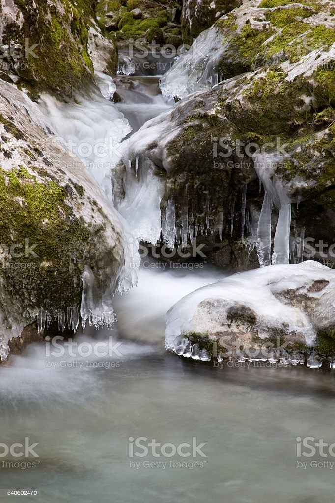 Frozen Waterfall and Icicle in the winter stock photo