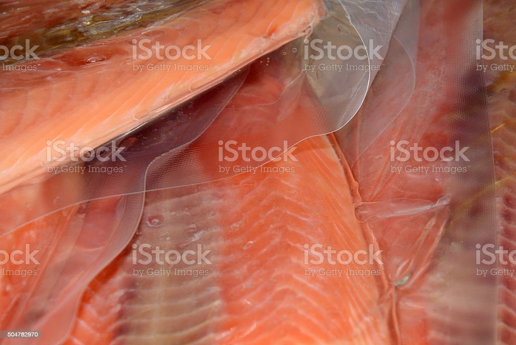 Frozen wild caught salmon stock photo