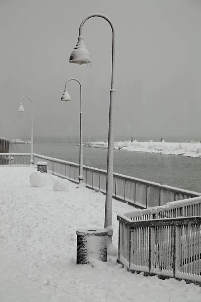 Frozen winter lamp stock photo