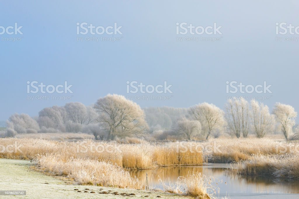 Frozen winter river landscape with a blue sky stock photo