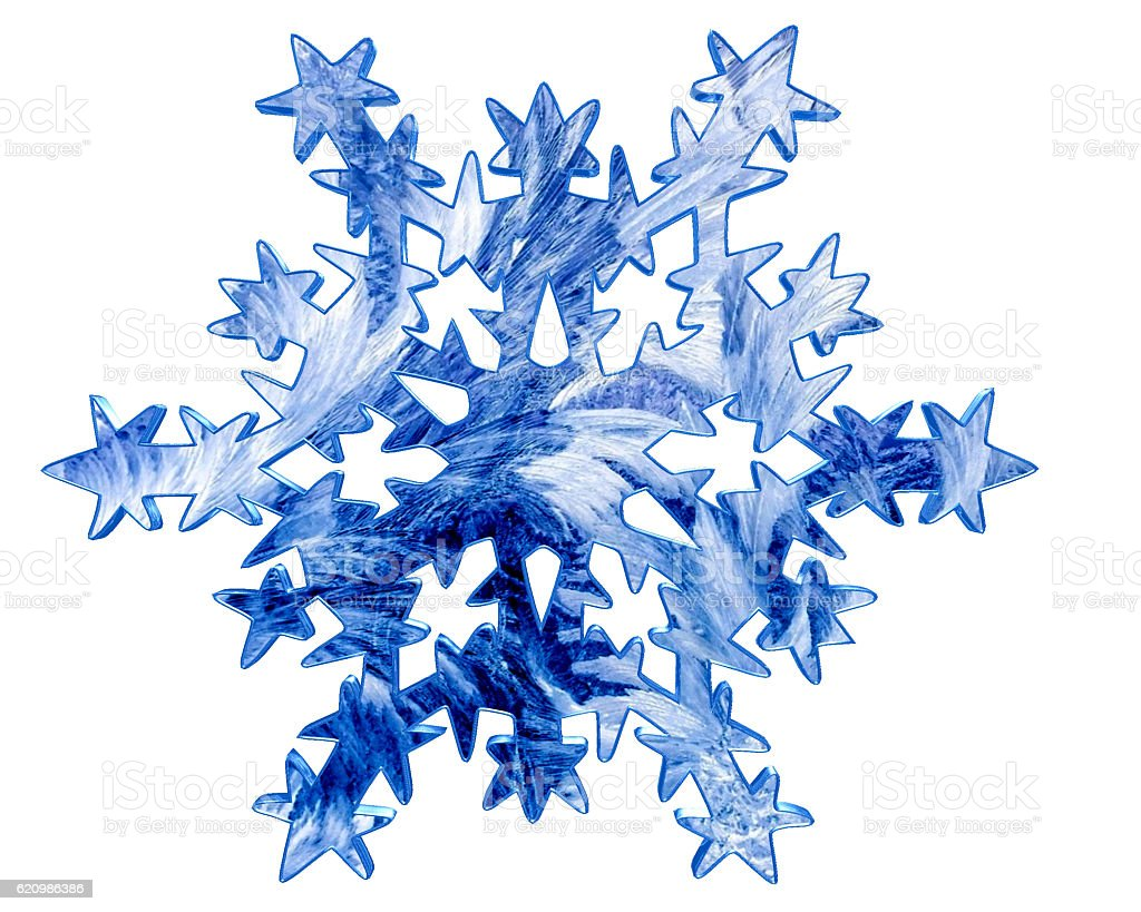 Frozen winter snowflake on a white background foto royalty-free