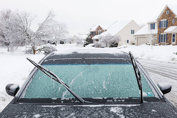 Frozen Wiper Blades on a Car stock photo