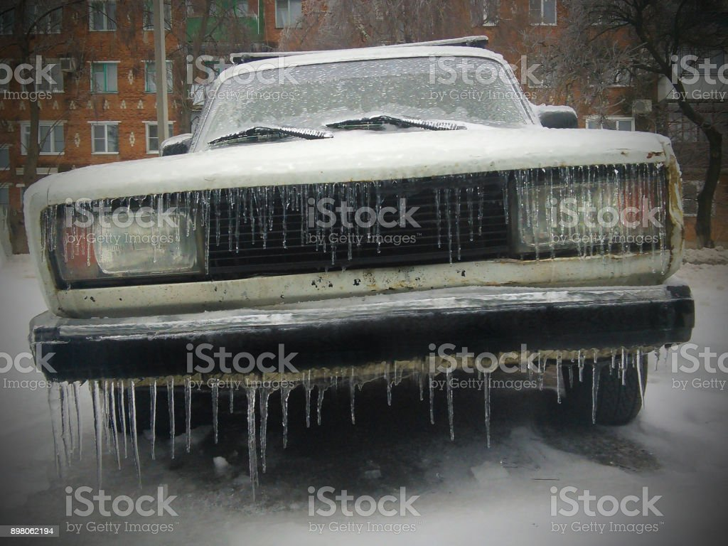 Frozen with icicles stock photo