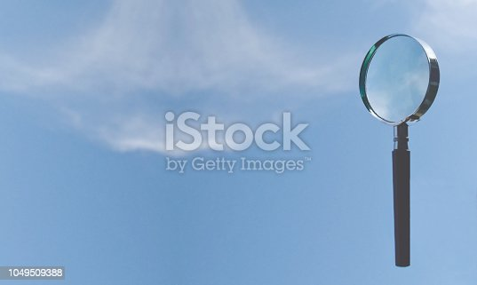 Förstoringsglas mot cyanblå himmel med moln där plats för text kan sättas