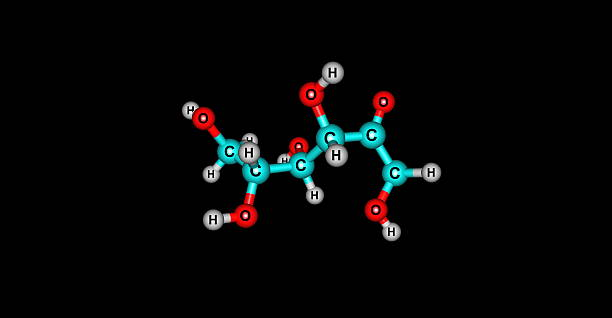 Fructose molecular structure isolated on black Fructose, or fruit sugar, is a simple ketonic monosaccharide found in many plants, where it is often bonded to glucose to form the disaccharide sucrose carbohydrate biological molecule stock pictures, royalty-free photos & images