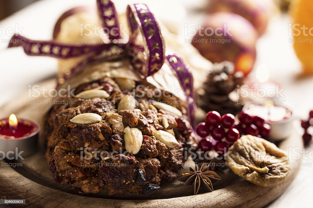 Fruechtebrot bread made from dried fruit stock photo