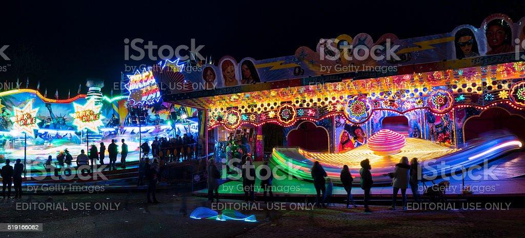 Fruehlingsfest fairground Elsaesser Platz Wiesbaden carousel stock photo