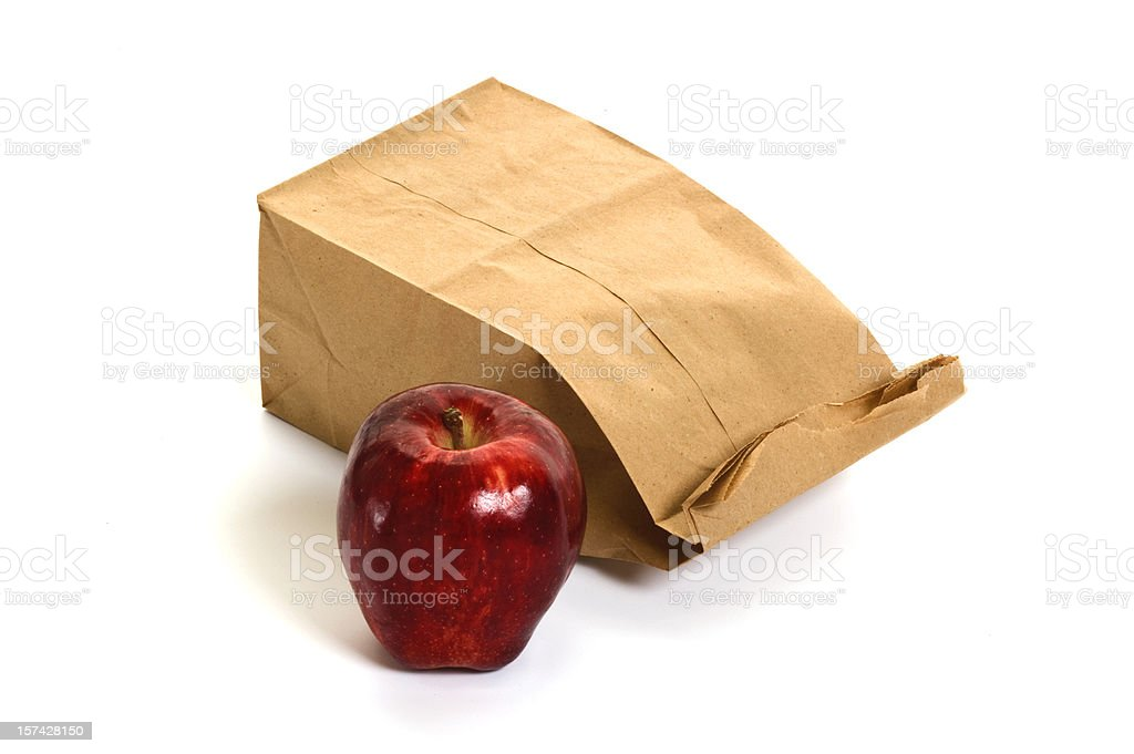 Frugal paper bag lunch stock photo