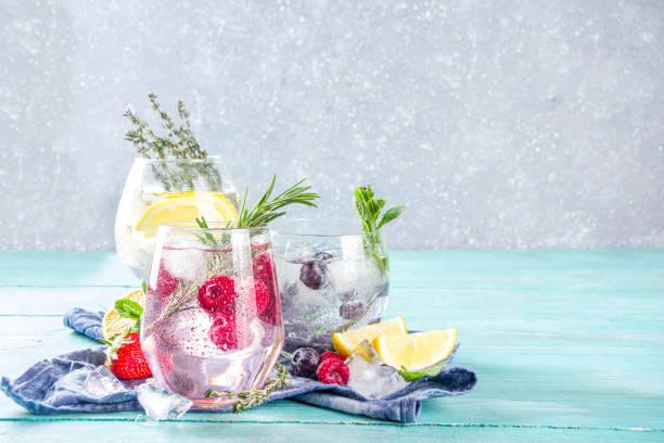 fruit en bessen gin tonics - gin tonic stockfoto's en -beelden