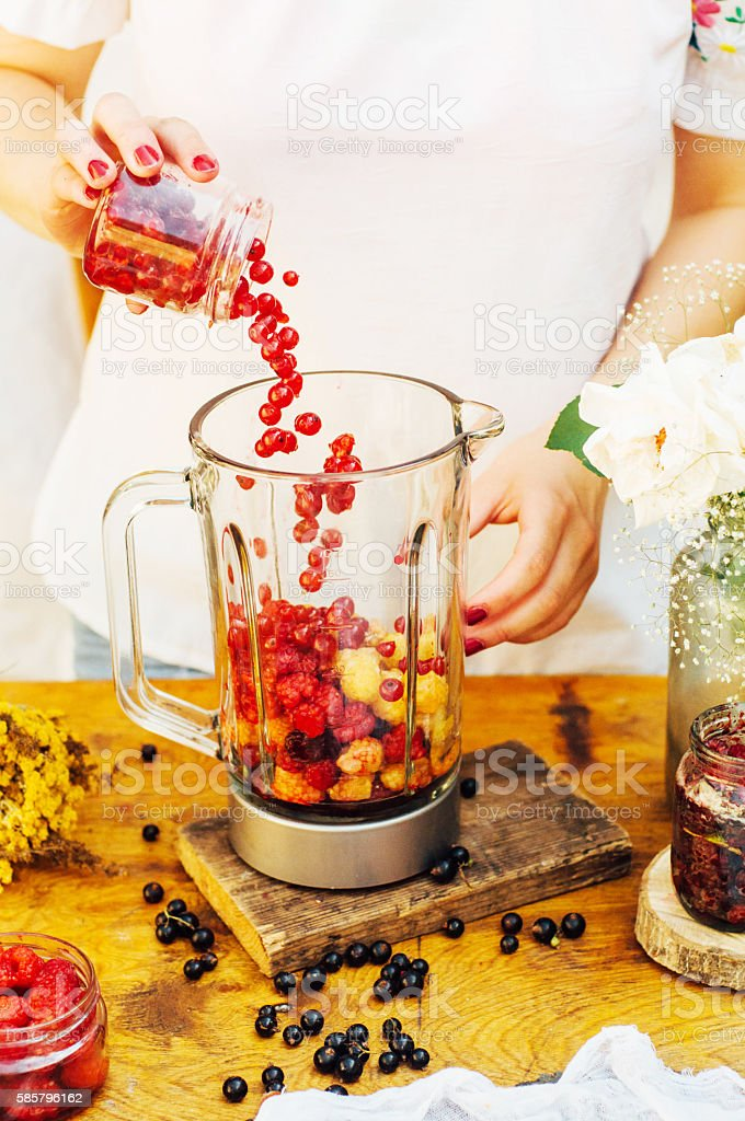 Fruit and berry smoothies with Raspberry stock photo