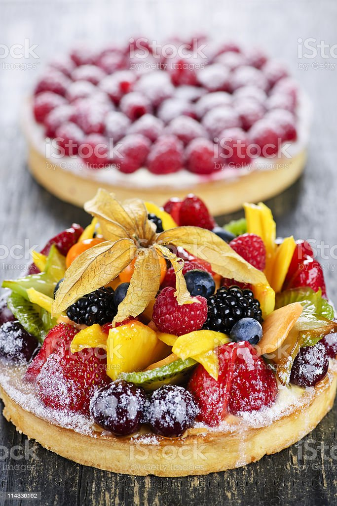 Fruit and berry tarts royalty-free stock photo