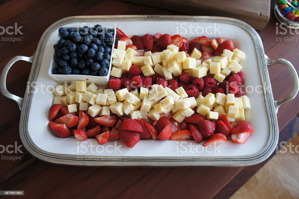fruit and cheese plate designed like an American flag stock photo