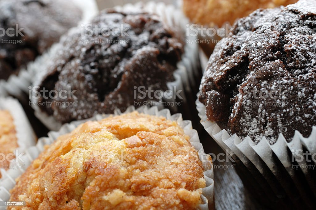 Fruit and chocolate muffins royalty-free stock photo