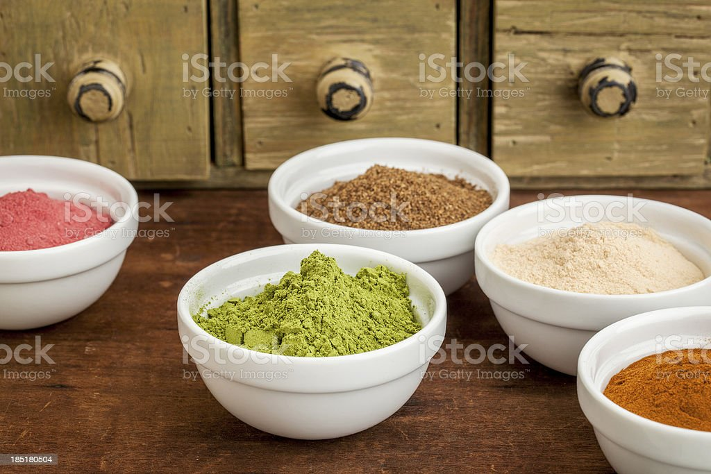 fruit and leaf nutrition powders stock photo