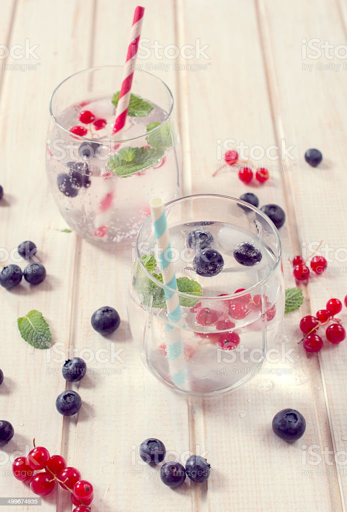Fruit and soda water stock photo