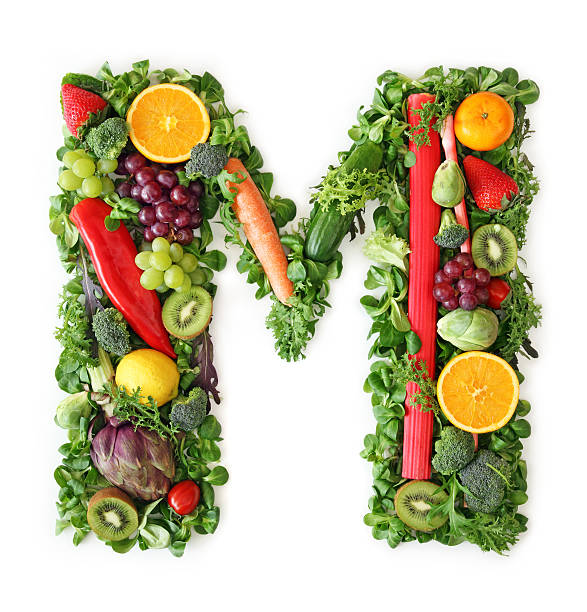 Fruit and vegetable alphabet stock photo