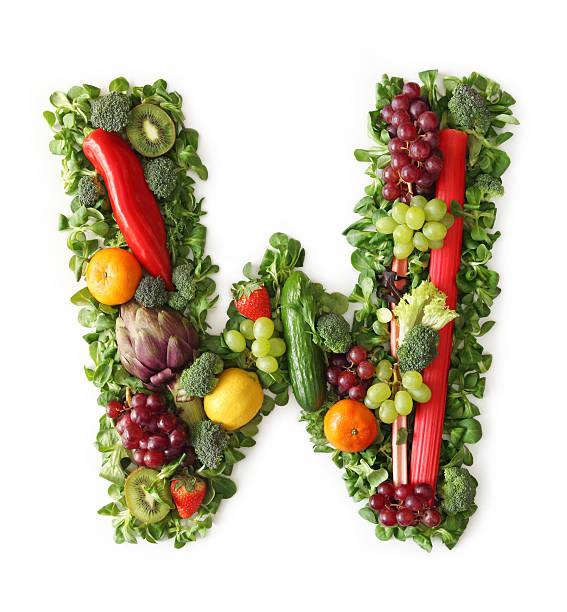 Fruit and vegetable alphabet Fruit and vegetable alphabet - letter W letter w stock pictures, royalty-free photos & images