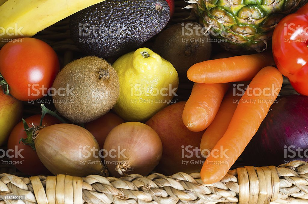 Fruit and Vegetable Basket royalty-free stock photo
