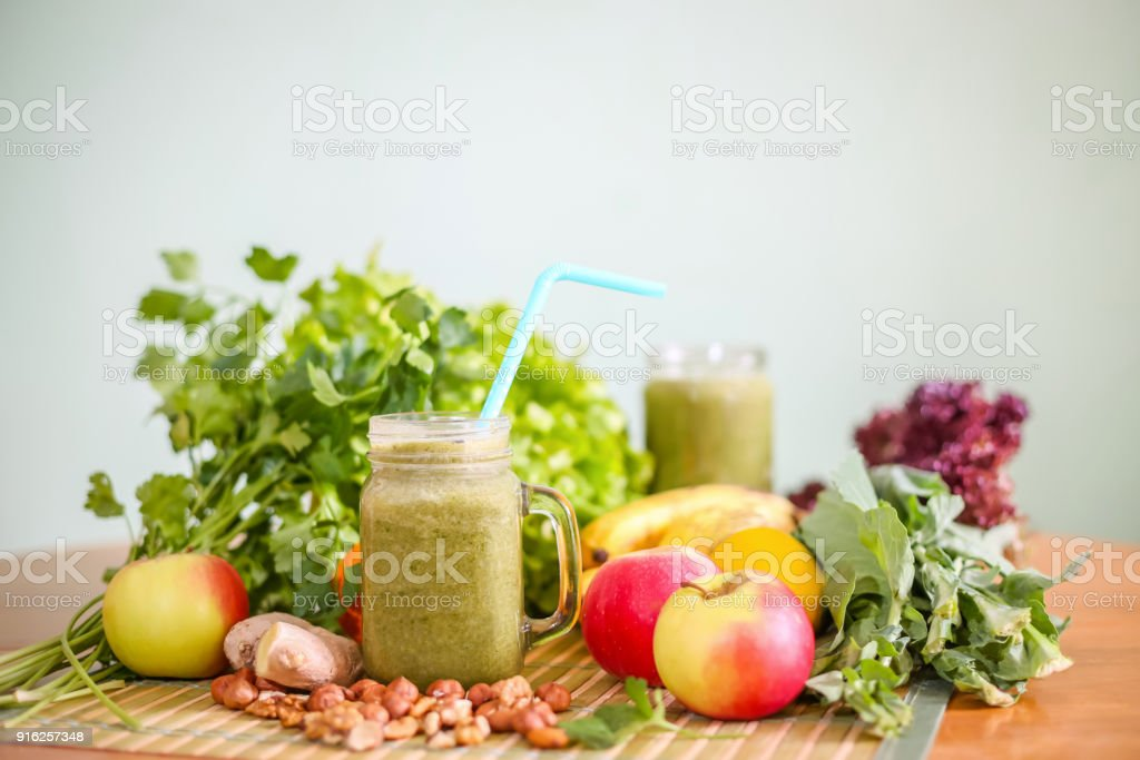 Fruit and vegetable green smoothie stock photo