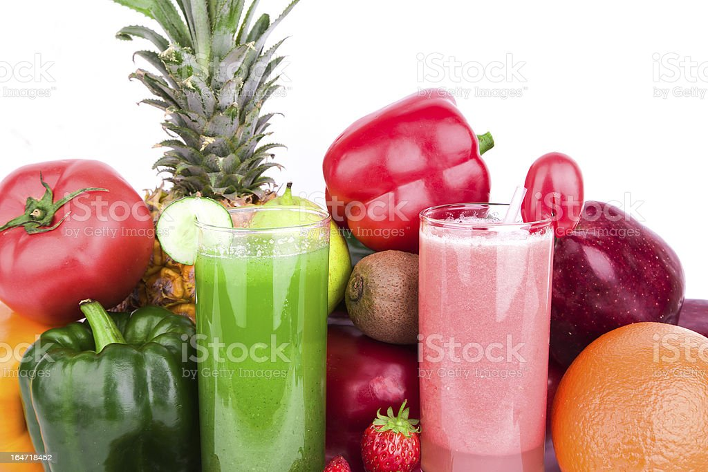 fruit and vegetable juice isolated on white background royalty-free stock photo