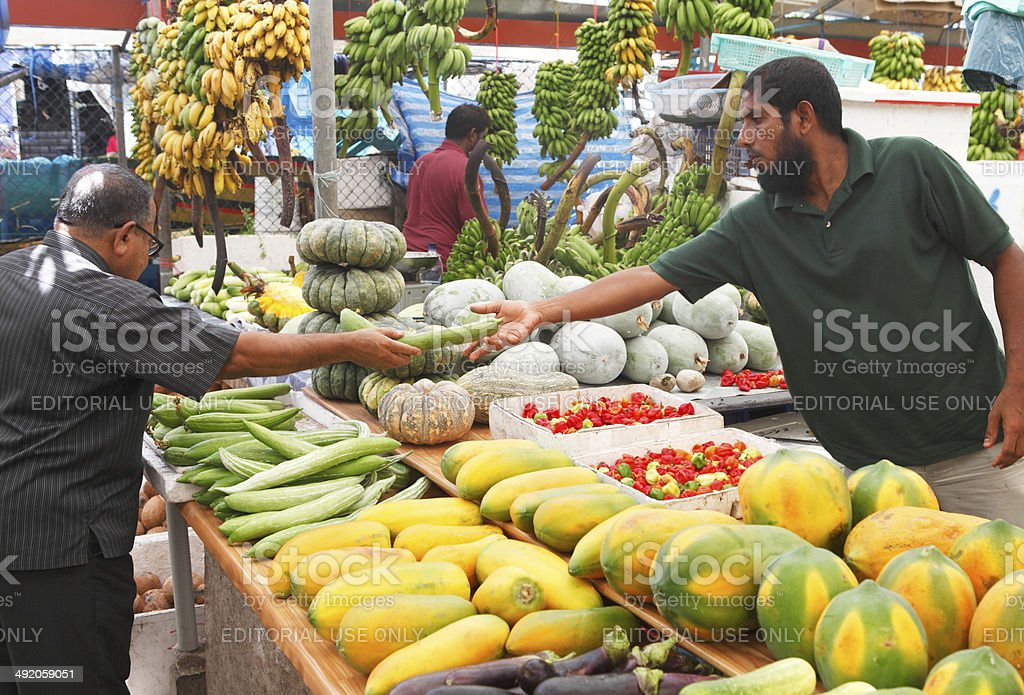Fruit and vegetable market in Male stock photo