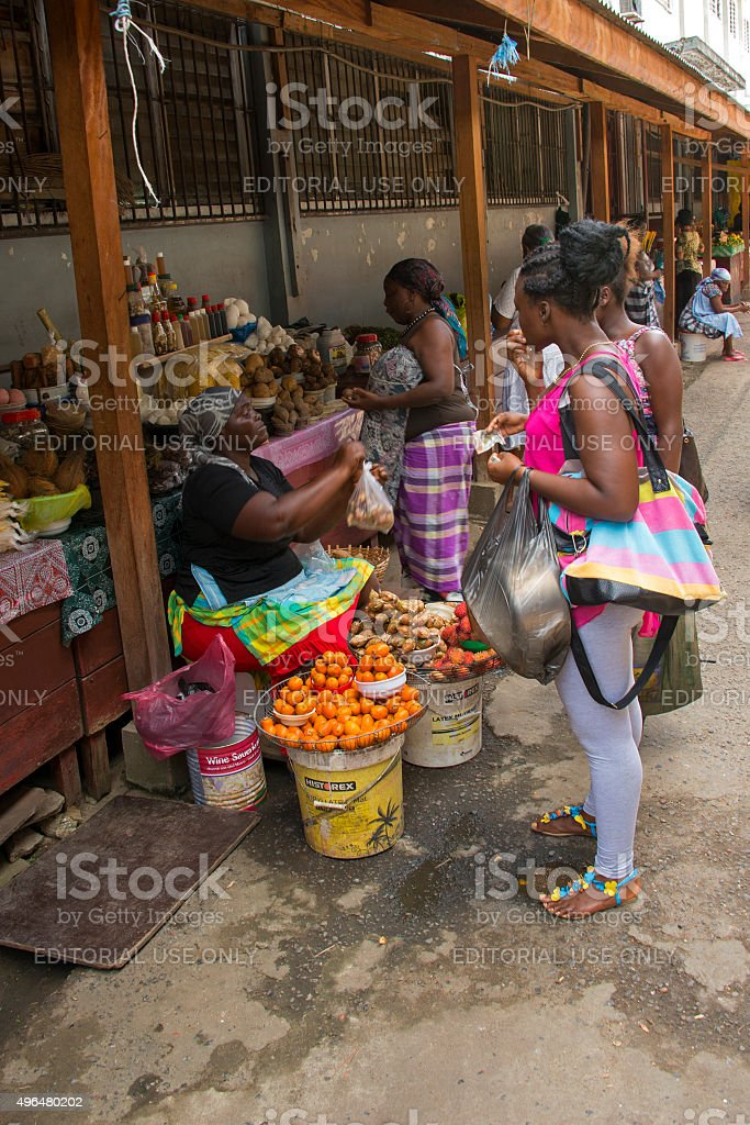 Fruit and vegetable market in Paramaribo stock photo