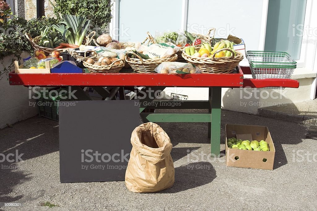Fruit And Vegetable On Barrow royalty-free stock photo