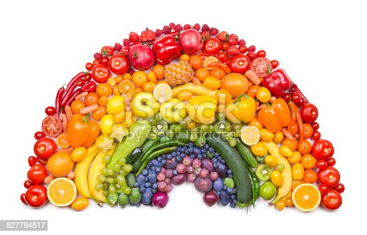Fruit and vegetable rainbow as healthy eating concept