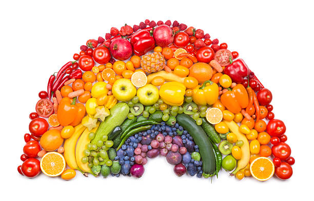 fruit and vegetable rainbow - fruit stock photos and pictures