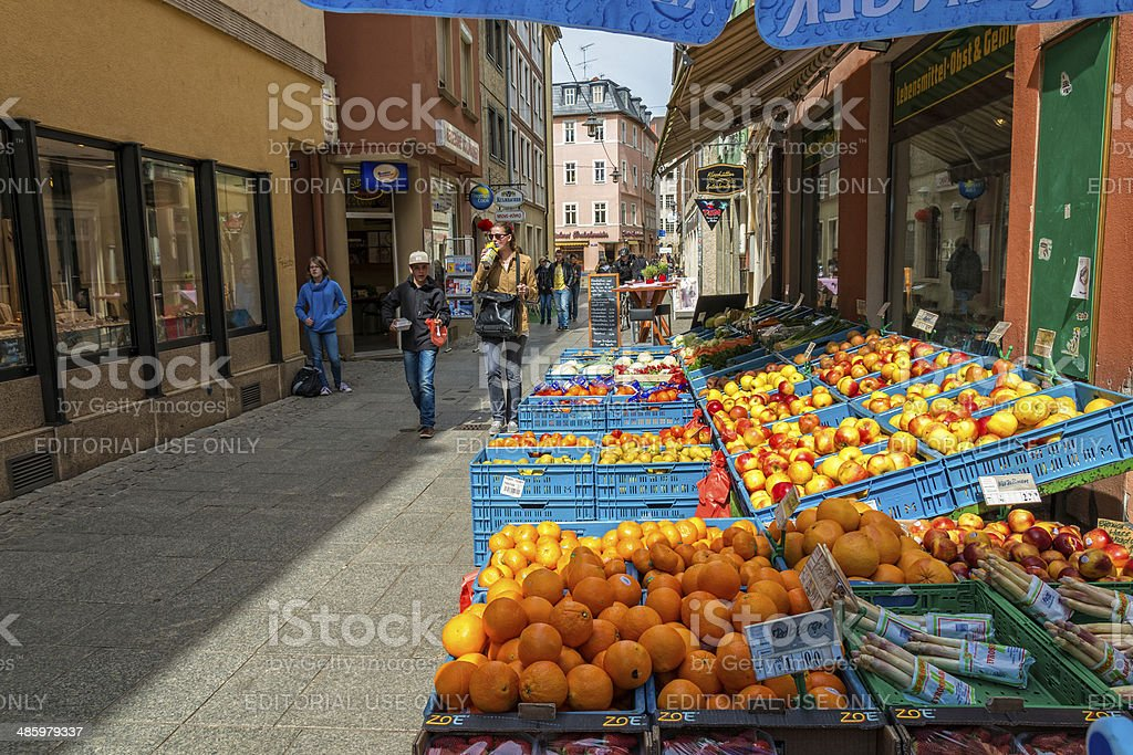 fruit and vegetable shop in Germany stock photo