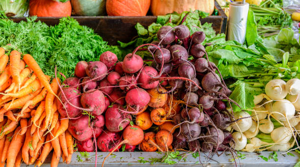 A fruit and vegetable stall stock photo
