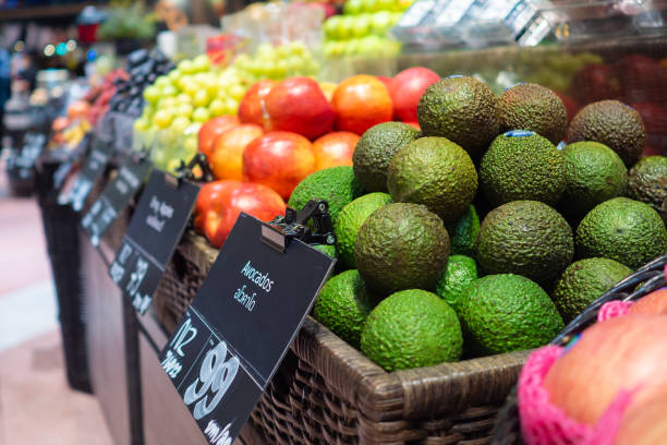 Fruit and vegetable zone in supermarket stock photo