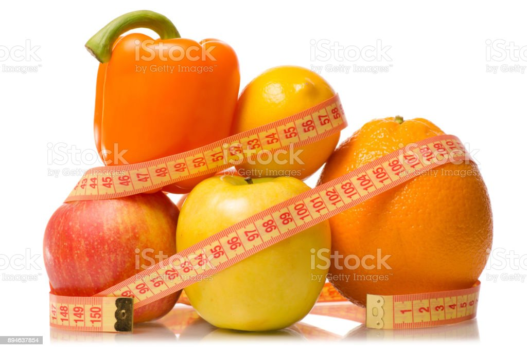 Fruit and vegetables apple grapefruit lemon centimeter losing weight stock photo