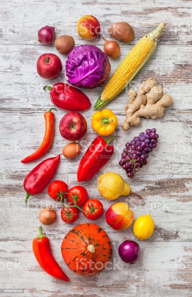 Fruit and vegetables assorted colorful overhead large mix in studio,...