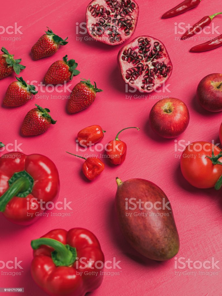 Fruit and vegetables background knolling from above flat lay stock photo