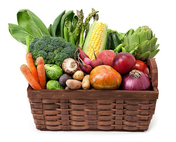 과일 및 야채 바스켓 - 바구니 뉴스 사진 이미지
