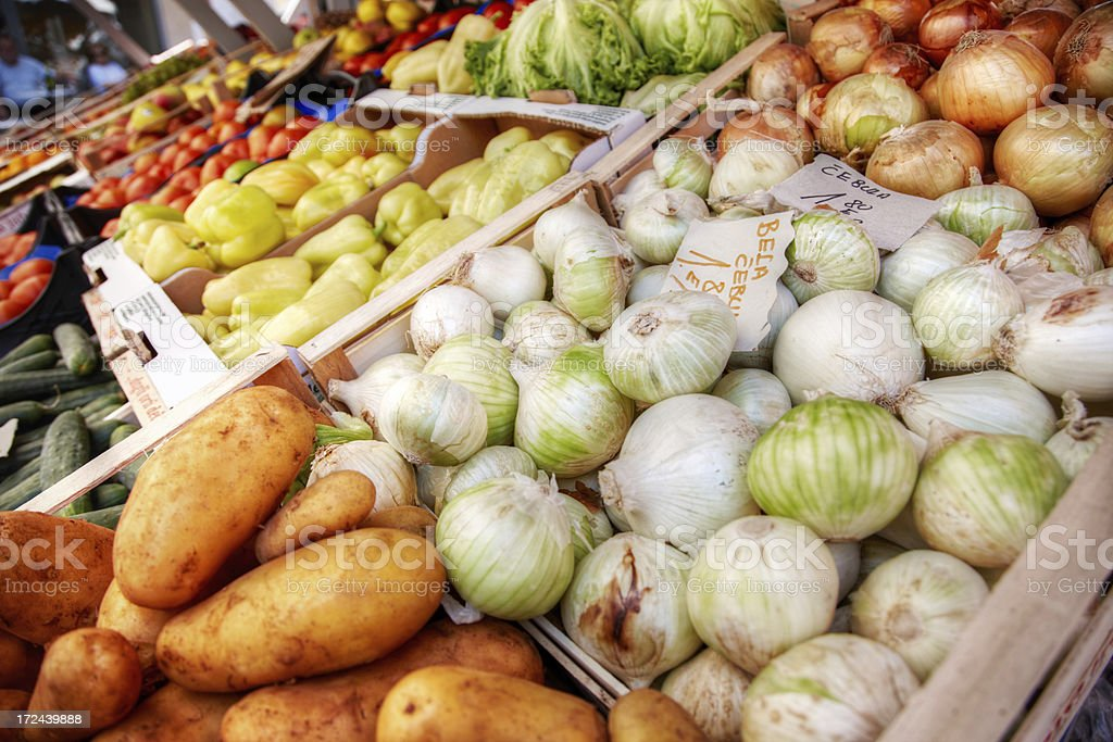 Fruit and vegetables for sale at open air market royalty-free stock photo