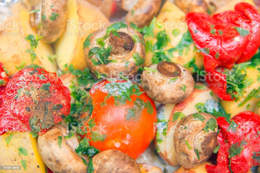 fruit and vegetables made in an oven, the recipe of preparation of a house dish. royalty-free stock photo