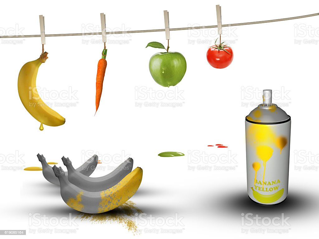 GMO fruit and vegetables stock photo