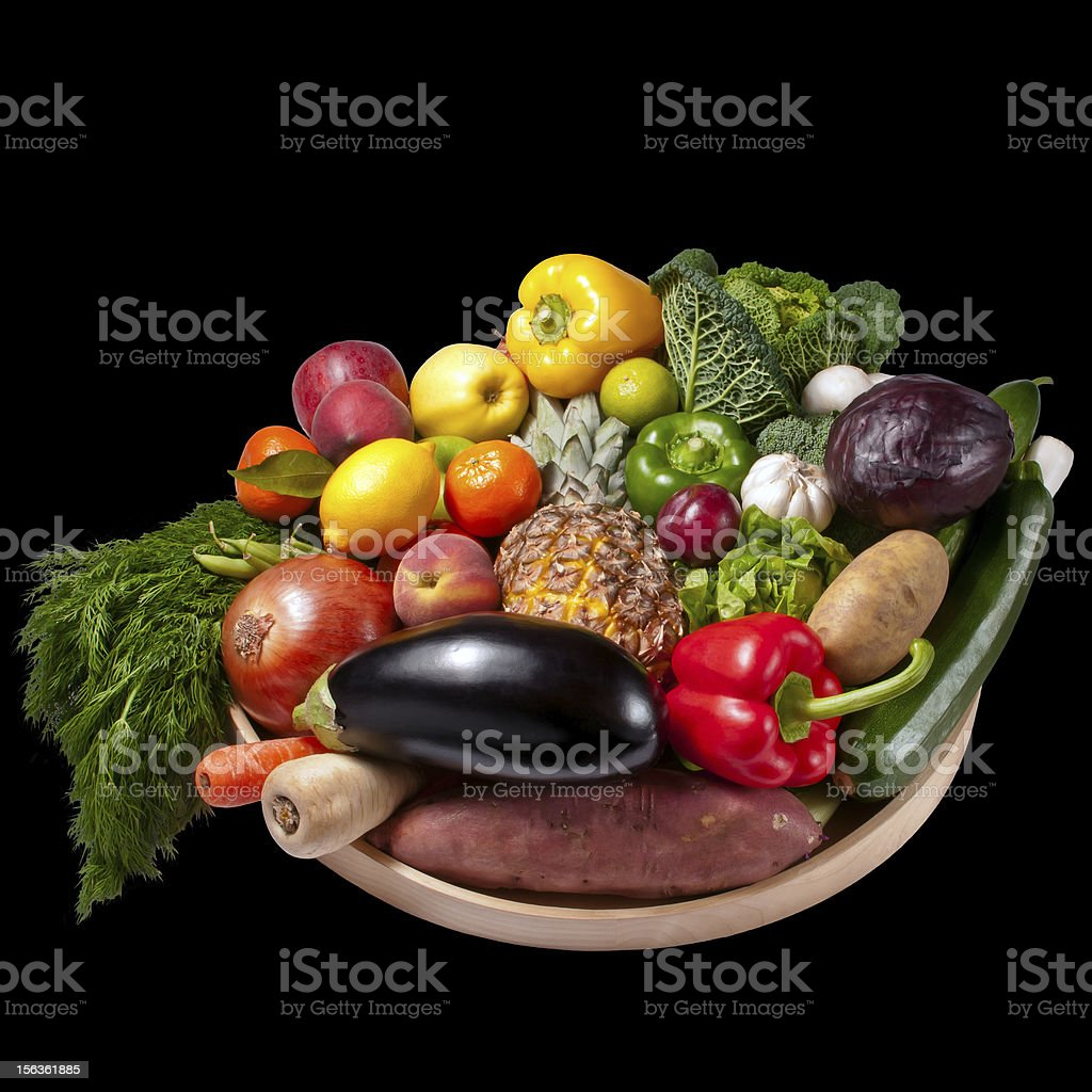 Fruit and vegetables tray royalty-free stock photo