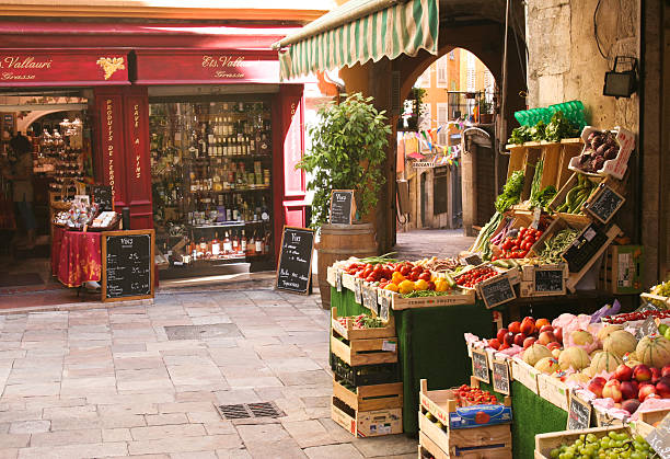 Fruit and Wine Stores in Grasse, France stock photo