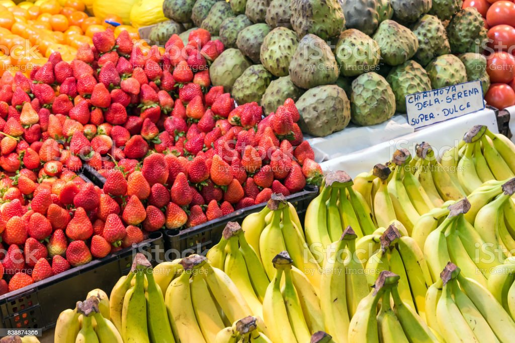 Fruit at the farmers market in Santiago stock photo